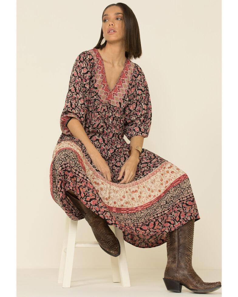 Angie Women's Floral Border Print Maxi Dress, Black, hi-res