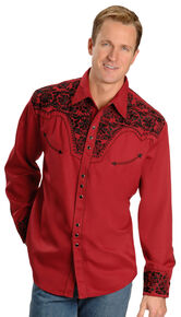 f3a3b41f830c8a Scully Embroidered Red Retro Western Shirt