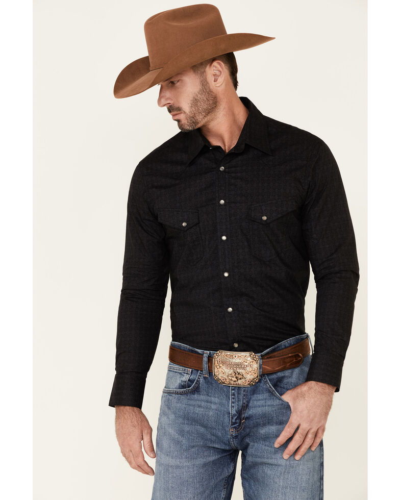 Rock & Roll Denim Men's Medallion Geo Print Long Sleeve Snap Western Shirt , Grey, hi-res
