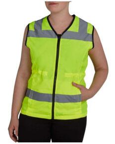 Utility Pro Women's Yellow Hi-Vis Reflective Nylon Zip-Front Work Vest , Yellow, hi-res