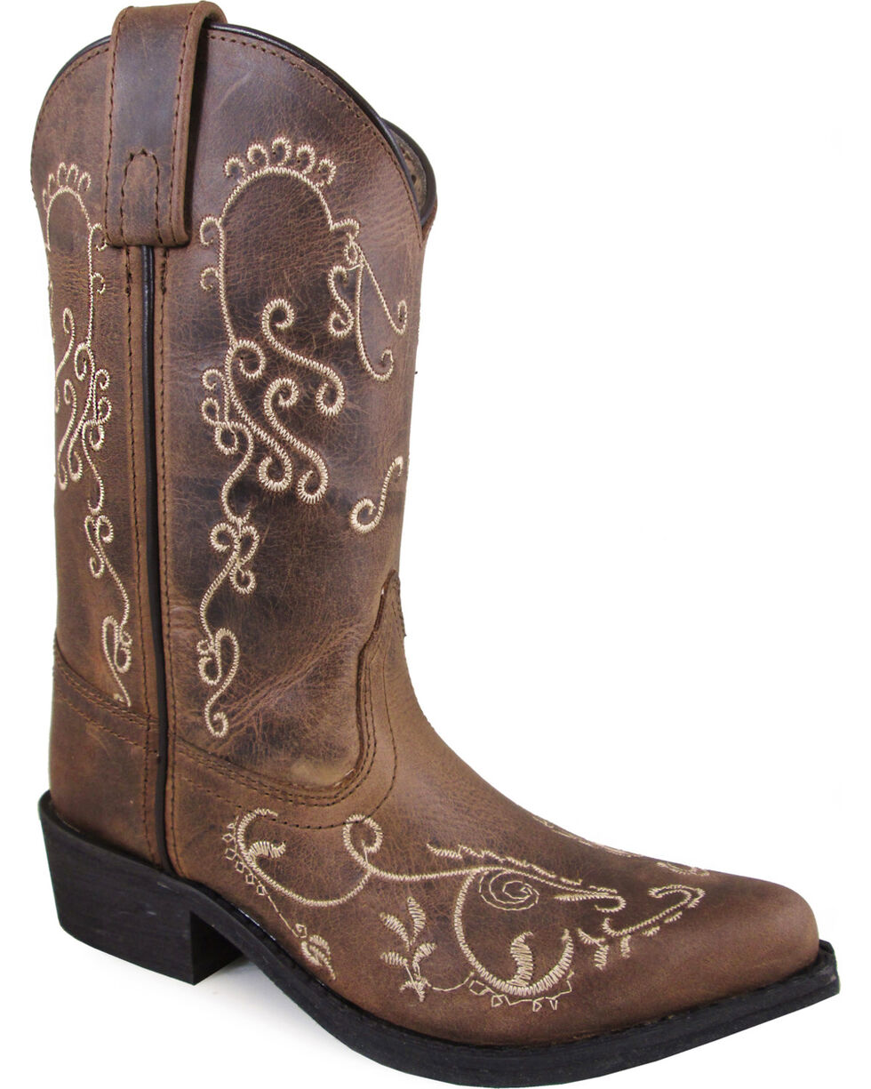 Smoky Mountain Youth Girls' Brown Jolene Distressed Western Boots - Pointed Toe , Brown, hi-res