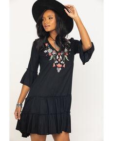 Studio West Women's Black Embroidered Bell Sleeve Dress , Black, hi-res