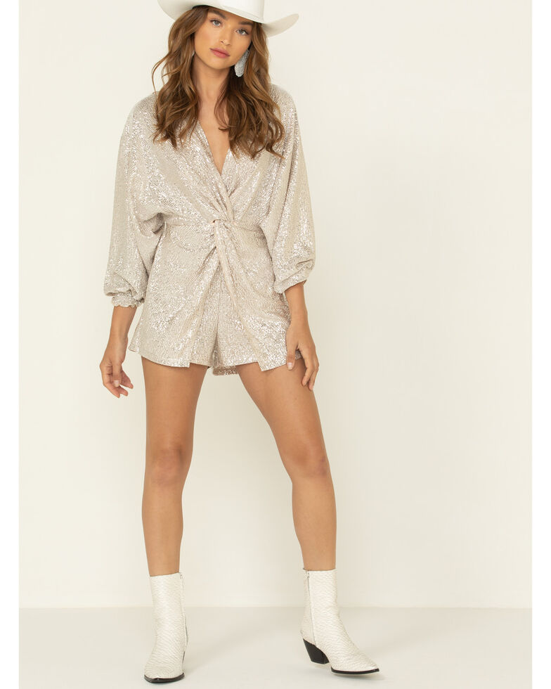 By Together Women's Metallic Romper, Taupe, hi-res