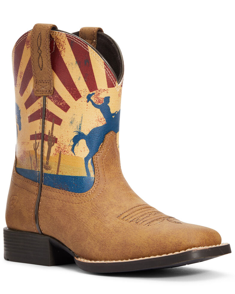 Ariat Boys' Dinero Tan Sunset Scene Western Boots - Square Toe, Brown, hi-res