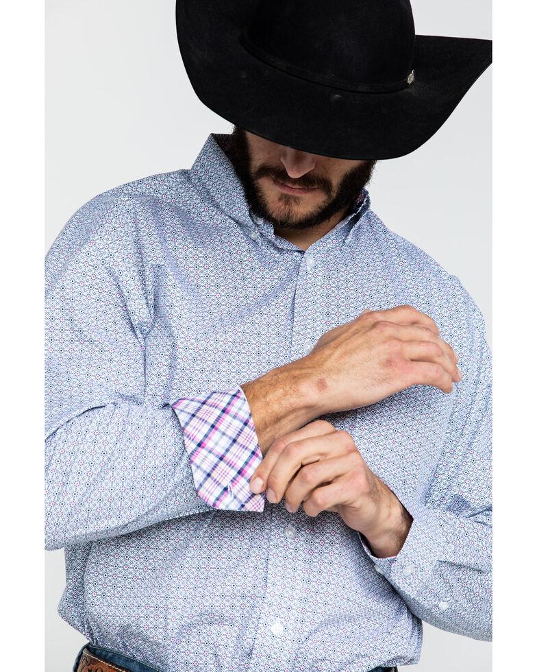 George Strait by Wrangler Men's Navy Small Geo Print Long Sleeve Western Shirt, Navy, hi-res