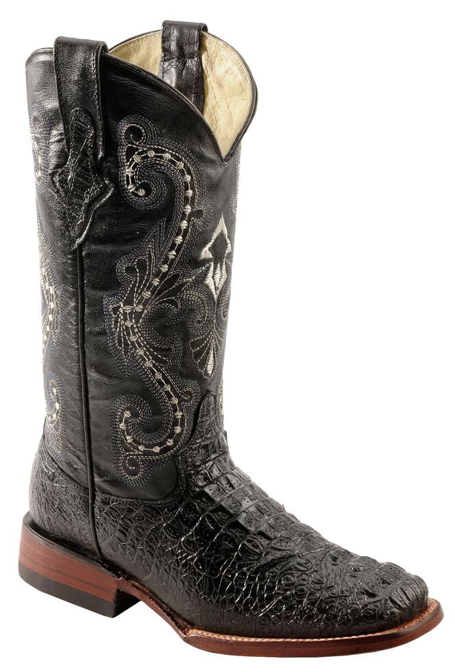 e2f4e4e8b1d Ferrini Caiman Croc Print Leather Cowgirl Boots - Square Toe