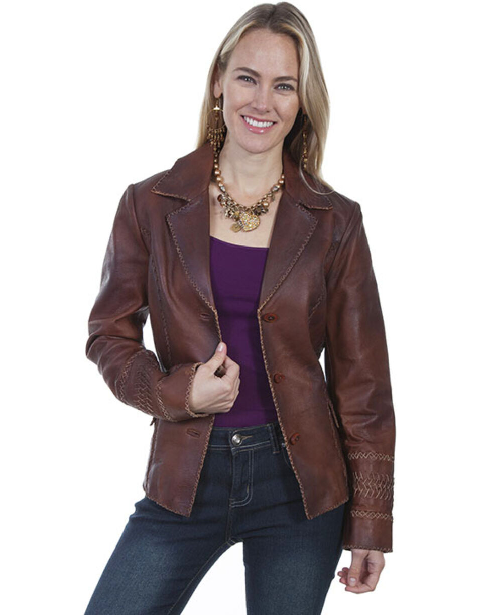Leatherwear by Scully Women's Brown Cross Stitch Blazer, Brown, hi-res