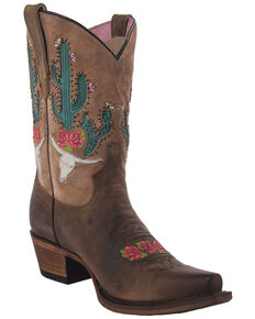 Junk Gypsy by Lane Strawberry Bramble Rose Western Boots - Snip Toe, Brown, hi-res