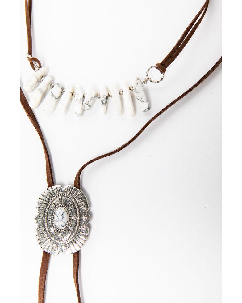Shyanne Women's White Falls Bolo Choker Necklace, Silver, hi-res