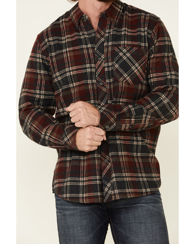 North River Men's Heather Red Barn Plaid Long Sleeve Western Flannel Shirt , Red, hi-res