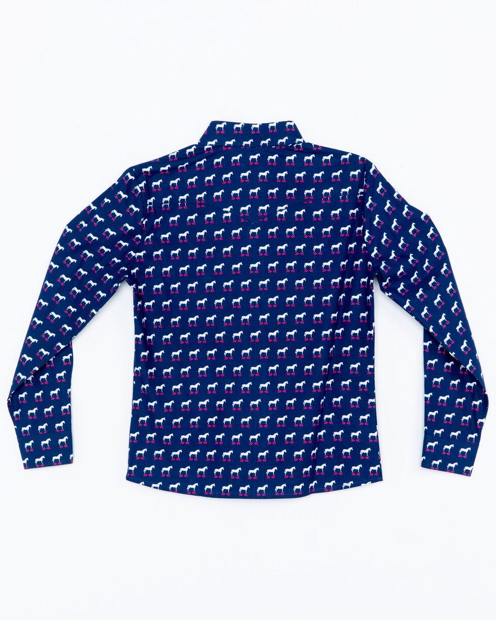 Panhandle Girls' Horse Print Long Sleeve Western Shirt , Navy, hi-res
