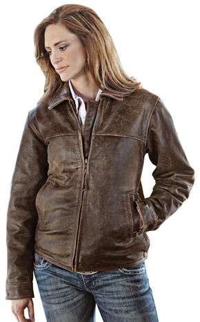 STS Ranchwear Women's Rifleman Brown Leather Jacket - Plus, Brown, hi-res