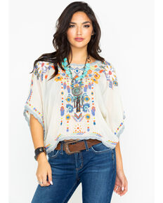 Johnny Was Women's Caspian Cropped Top, Off White, hi-res