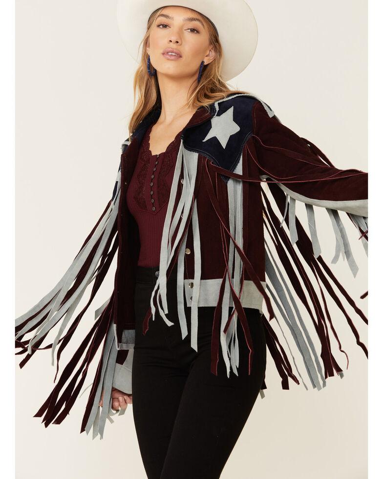 Understated Leather Women's Burgundy American Star Fringe Suede Jacket, Burgundy, hi-res