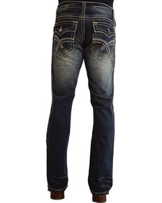 "Stetson Rock Fit Curved ""X"" Stitched Flap Pocket Jeans - Big & Tall, Dark Stone, hi-res"