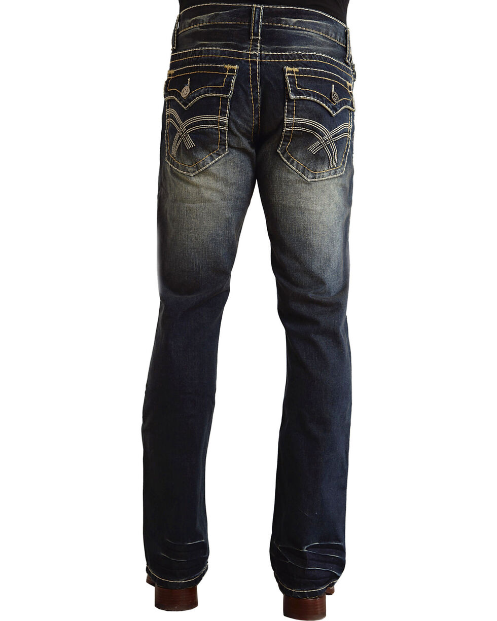 "Stetson Rock Fit Curved ""X"" Stitched Flap Pocket Jeans - Big & Tall, Dark Stone, hi-res"