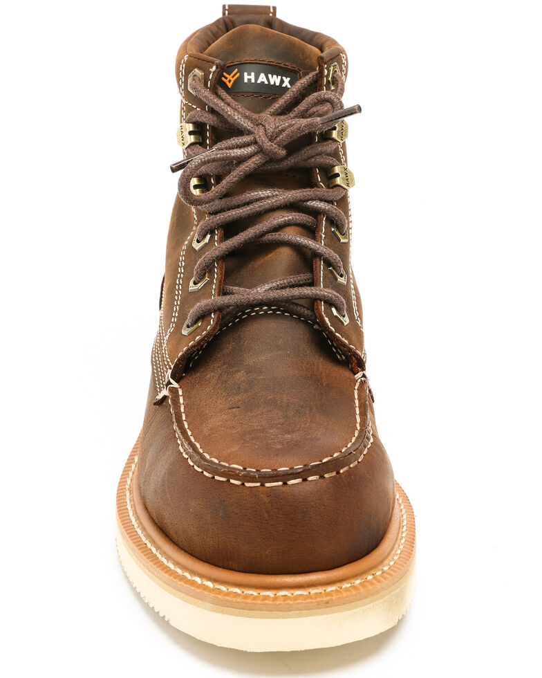 Hawx Men's Grade Moc Distressed Wedge Work Boots - Nano Composite Toe, Distressed Brown, hi-res