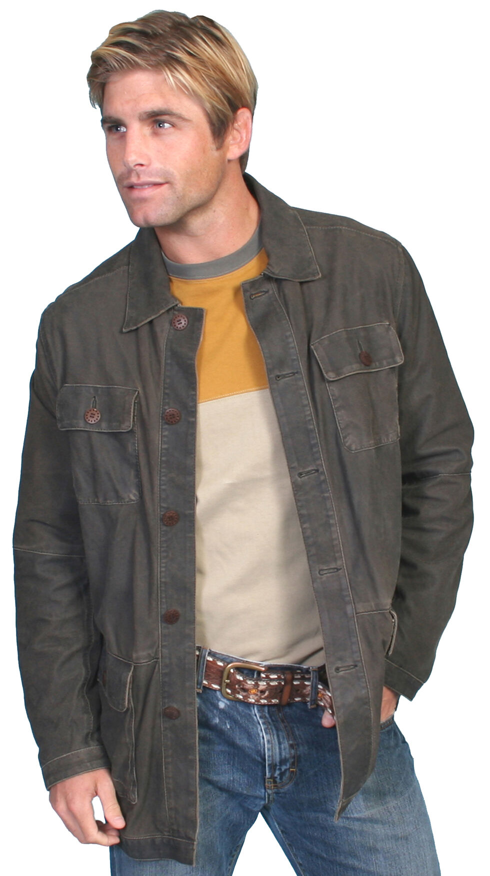 Scully Contemporary Men's Two-Tone Grey Leather Jacket , Grey, hi-res