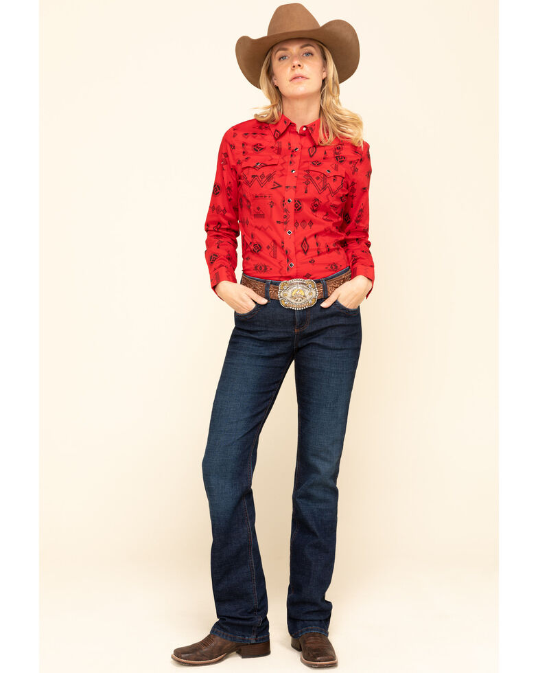 Wrangler Retro Women's Red Aztec Long Sleeve Western Shirt, Red, hi-res