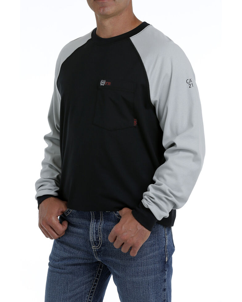 Cinch Men's FR Black Flag Logo Raglan Long Sleeve Work Shirt , Black, hi-res