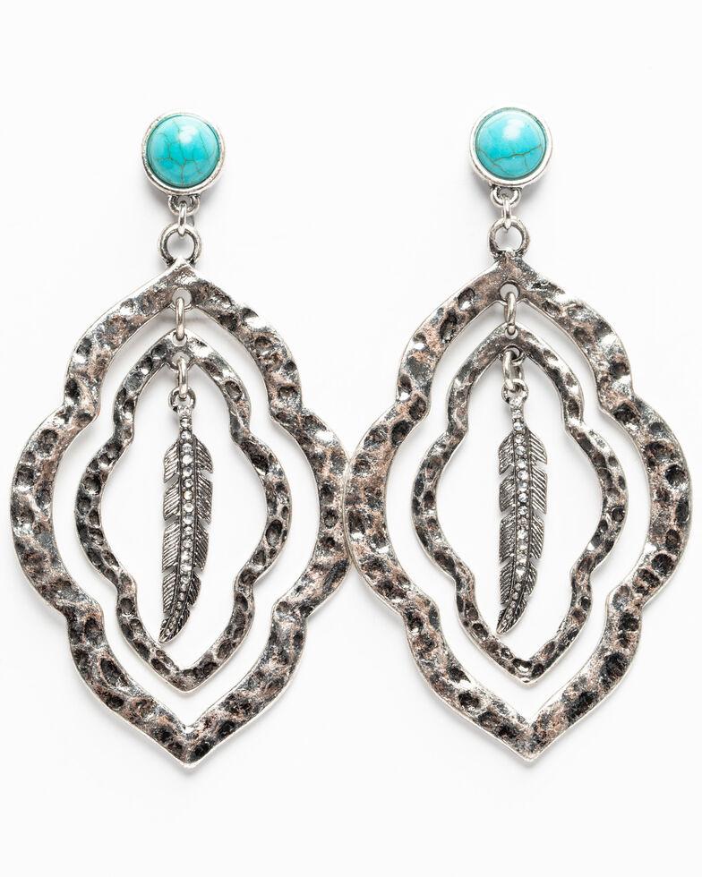 Shyanne Women's Hidden Treasure Multi Layered Feather Charm Earrings, Silver, hi-res
