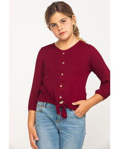 Shyanne Girls' Burgundy Tie-up Long Sleeve Lace Shirt, Burgundy, hi-res
