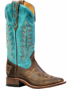 Boulet Hillbilly Golden West Turqueza Cowgirl Boots - Square Toe, Brown, hi-res