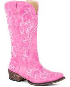 Roper Women's Riley Western Boots - Snip Toe, Pink, hi-res