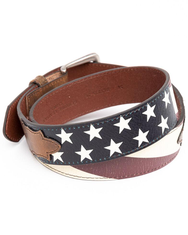 Cody James Men's Vintage American Flag Belt, Brown, hi-res
