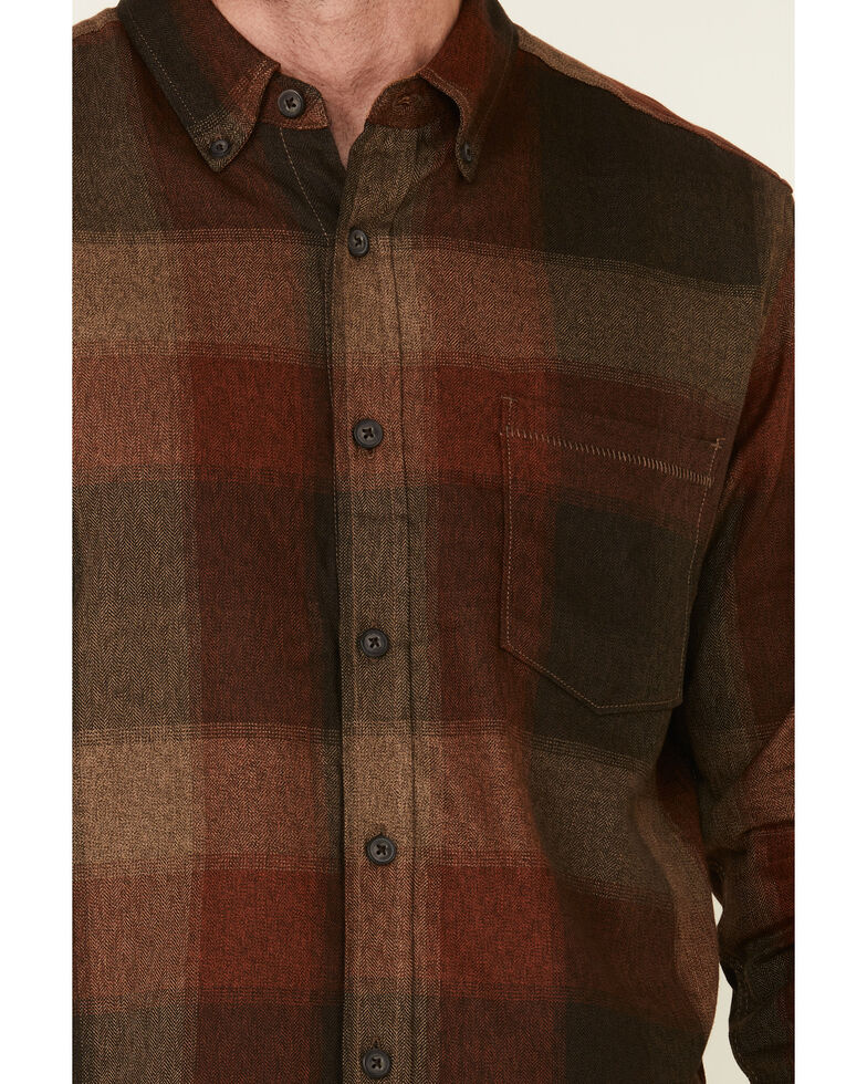 North River Men's Red Bittersweet Large Plaid Long Sleeve Western Flannel Shirt , Red, hi-res