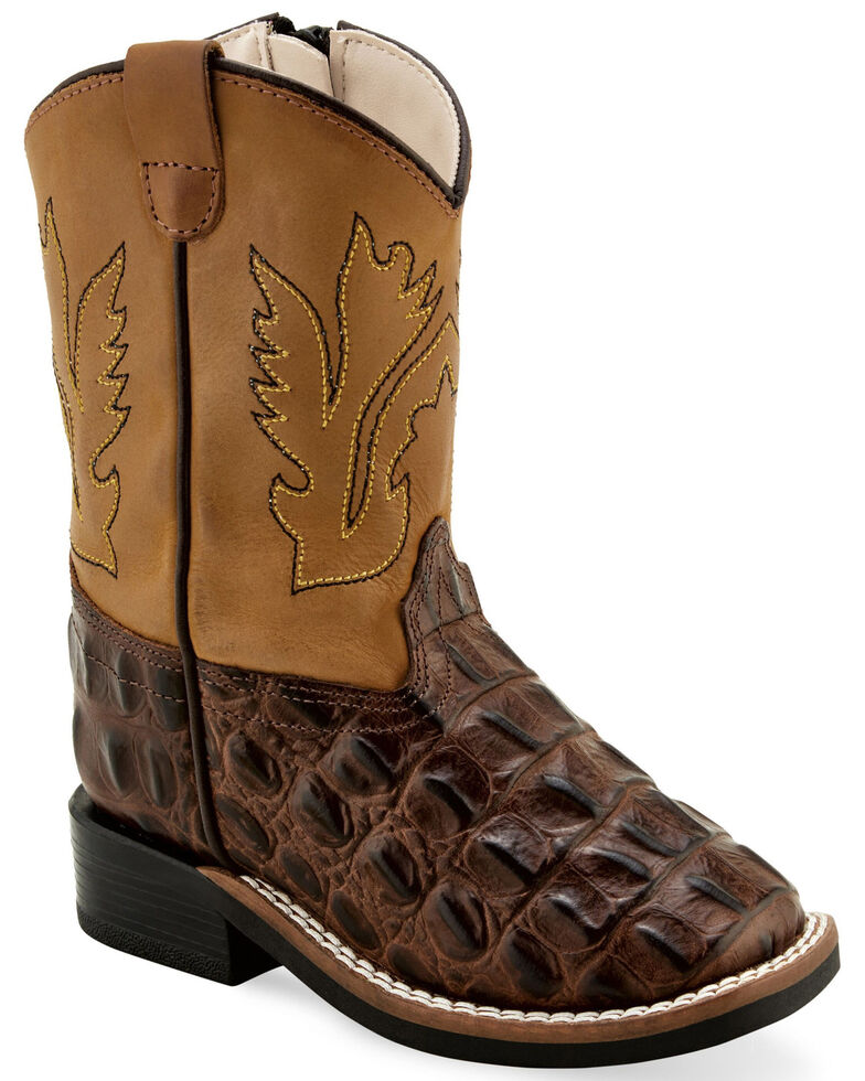 Old West Toddler Boys' Faux Horn Back Gator Print Western Boots - Wide Square Toe, Brown, hi-res