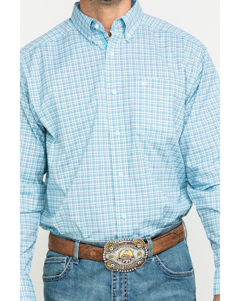Ariat Men's Lee Stretch Plaid Short Sleeve Western Shirt - Tall , Blue, hi-res