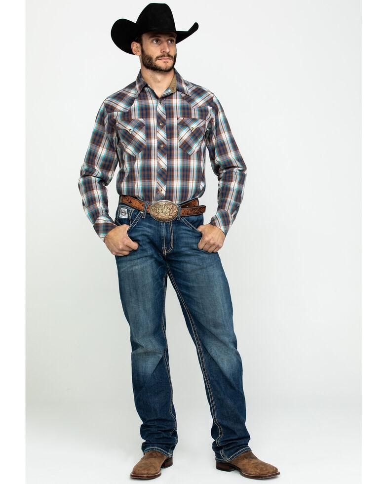 Roper Men's West Made Desert Dobby Plaid Long Sleeve Western Shirt , Multi, hi-res