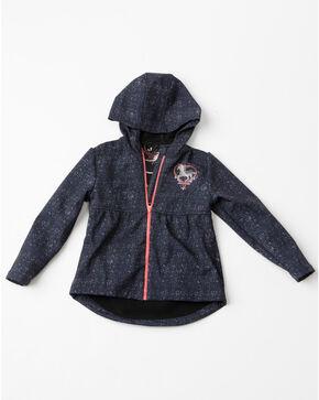 Shyanne Girls' Peplum Horse Embroidered Bonded Long Sleeve Jacket, Grey, hi-res