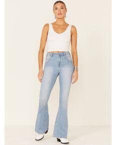 Rock & Roll Denim Women's Light Wash High-Rise Flare Leg Jeans, Light Blue, hi-res