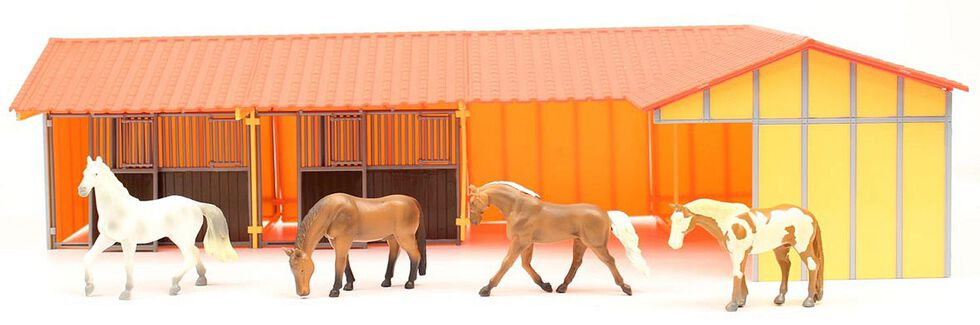 Priefert Toy Horses & Stable, Tan, hi-res