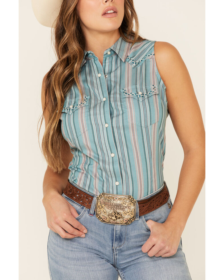 Wrangler Retro Women's Teal Striped Sleeveless Western Core Shirt , Teal, hi-res