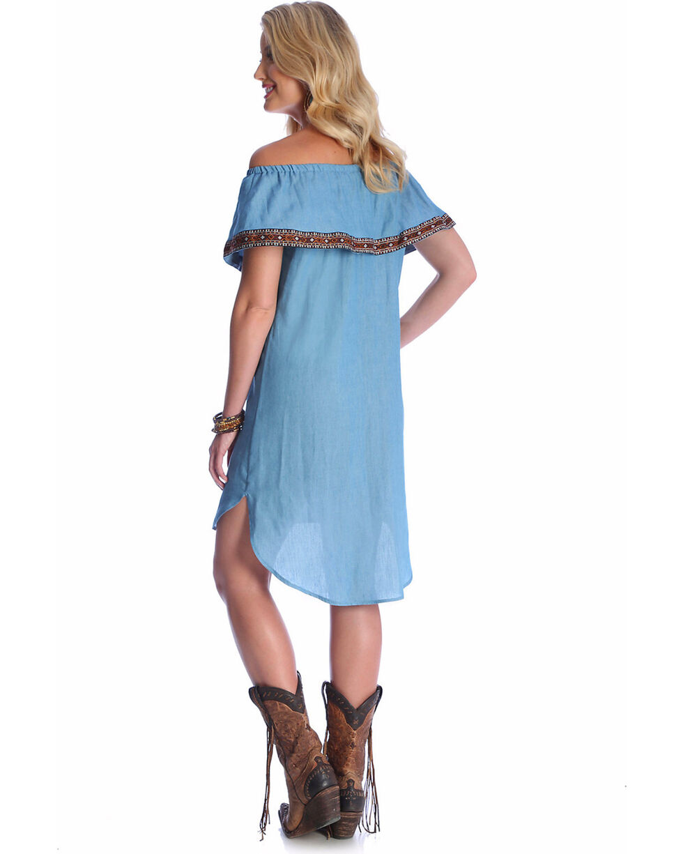 Wrangler Women's Blue Off-The-Shoulder Tencel Denim Dress , Light Blue, hi-res