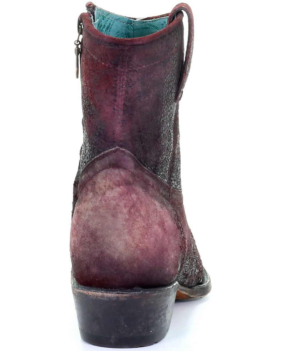 Corral Women's Wine Red Lamb Booties - Round Toe, Red, hi-res