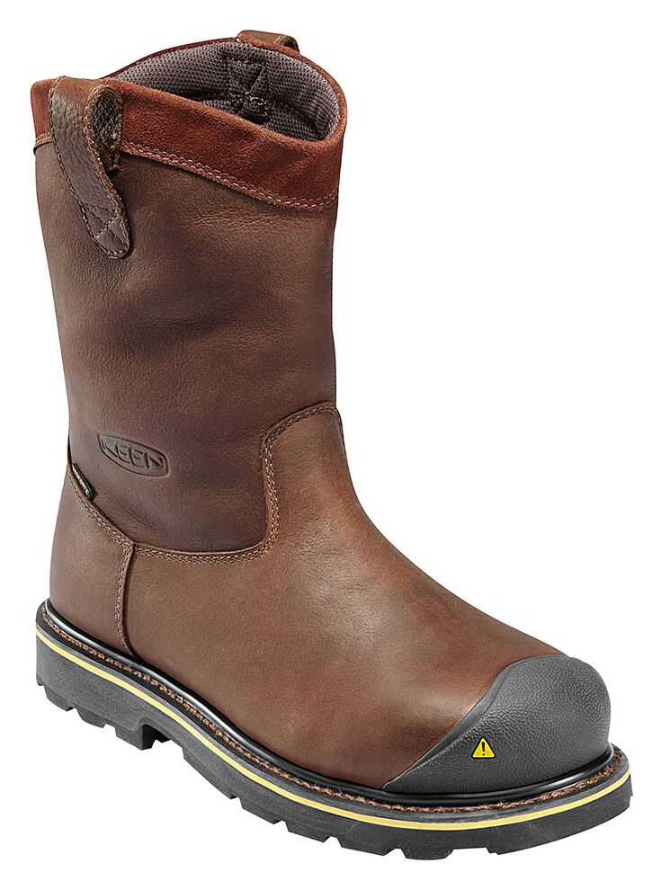Keen Men's Dallas Wellington Waterproof Boots - Steel Toe, Dark Brown, hi-res