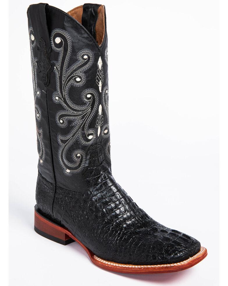 Ferrini Black Caiman Croc Print Cowboy Boots - Wide Square Toe, Black, hi-res