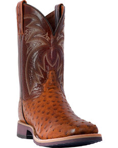 Dan Post Men's Philsgood Brown Full Quill Ostrich Cowboy Boots - Square Toe, Brown, hi-res