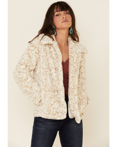 Z Supply Women's Bone Leopard Print Faux Fur Jacket , Cream, hi-res