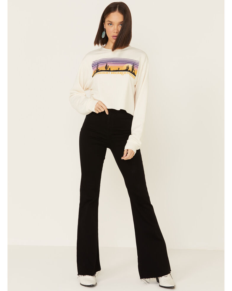 Cut & Paste Women's Desert Dreamer Graphic Cropped Long Sleeve Top , Cream, hi-res
