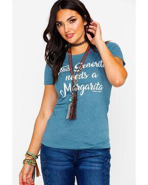 Bohemian Cowgirl Women's Senorita Needs A Margarita Graphic Tee , Charcoal, hi-res