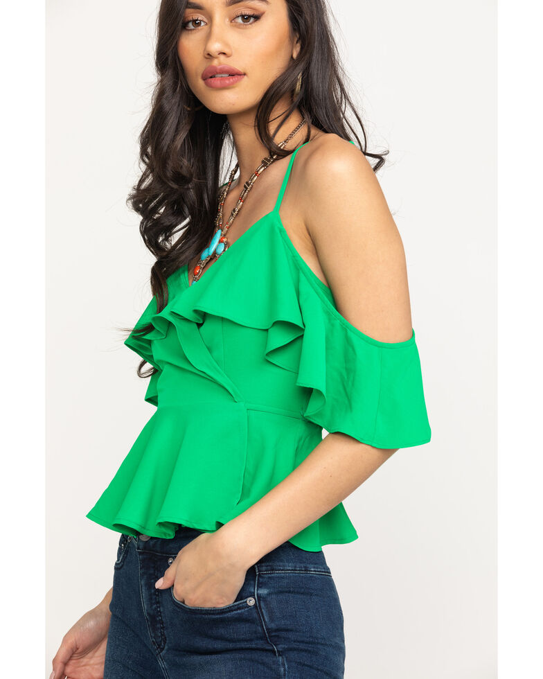Flying Tomato Women's Ruffle Cold Shoulder Top, Green, hi-res