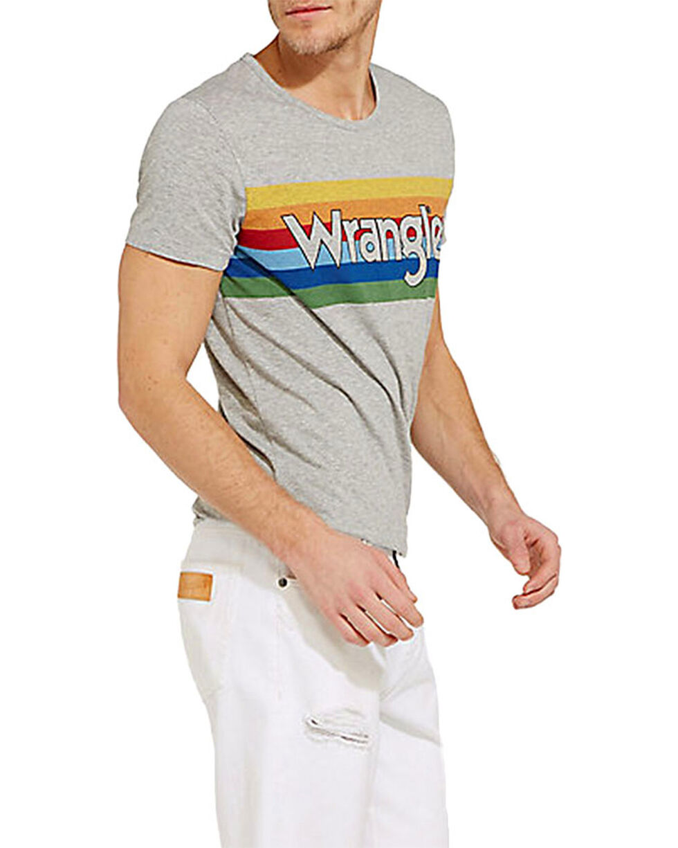 Wrangler Men's Grey Retro Glory Rainbow Tee , Grey, hi-res