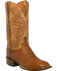 Lucchese Men's Handmade Lance Smooth Ostrich Horseman Boots - Square Toe, Lt Brown, hi-res