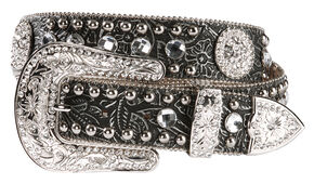 Blazin Roxx Black Tooled Concho Belt, Black, hi-res