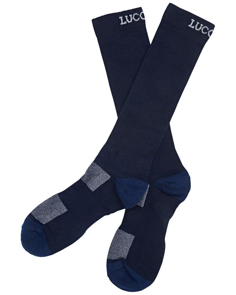 Lucchese Men's Navy Multi-Blend Socks , Navy, hi-res